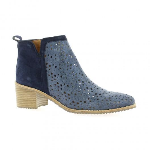 Minka design Boots cuir laminé bleu