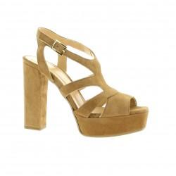 Fremilu Nu pieds cuir velours camel