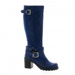 Pao Bottes cuir velours bleu