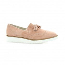 Latina Mocassins cuir velours rose