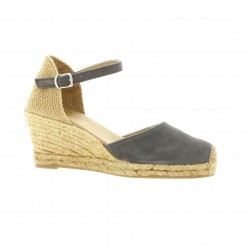 Pao Espadrille cuir velours gris