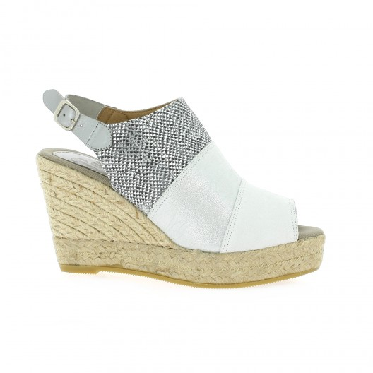 Pao Espadrille velours lamine Gris - Chaussures Espadrilles Femme