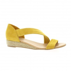 We do Nu pieds cuir velours jaune