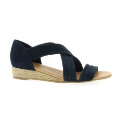 We do Nu pieds cuir velours marine
