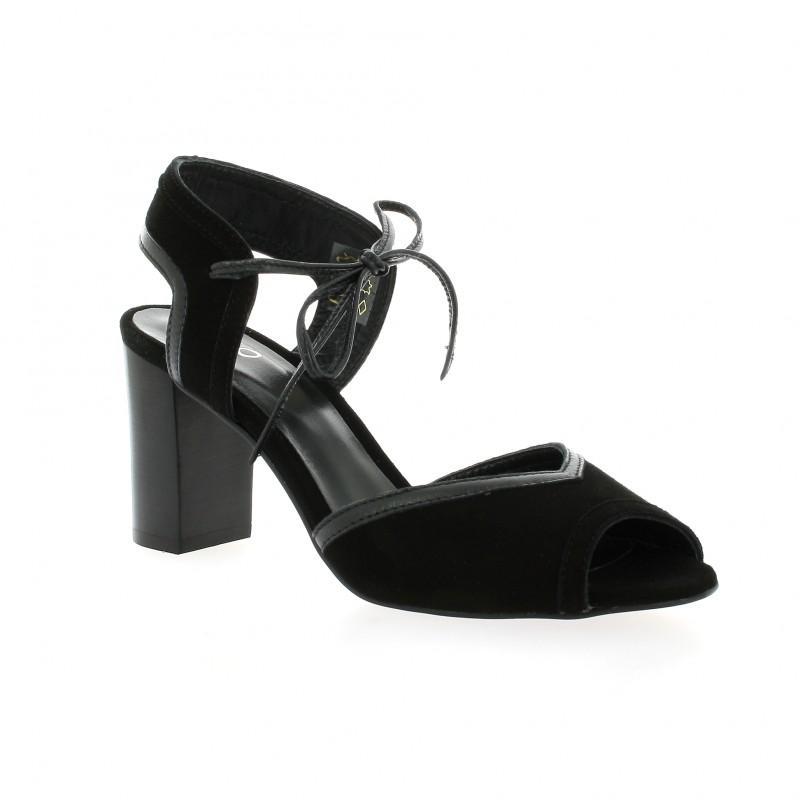 We Do Escarpins cuir velours Noir - Chaussures Escarpins Femme