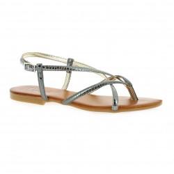 Pao Nu pieds cuir laminé bronze
