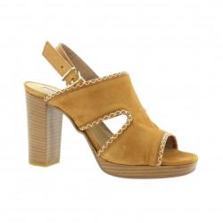 Donna piu Nu pieds cuir velours camel