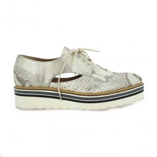 Donna Più Derby cuir python Gris - Chaussures Derbies Femme