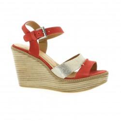 Minka design Nu pieds cuir velours corail