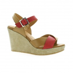 Minka design Nu pieds cuir corail