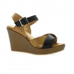Minka design Nu pieds cuir noir
