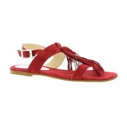 Elizabeth stuart Nu pieds cuir velours rouge