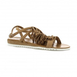 Femme plus Nu pieds cuir velours camel