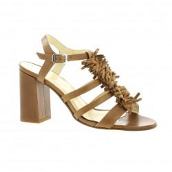 Elizabeth Stuart Nu pieds cuir python Cognac - Chaussures Sandale Femme