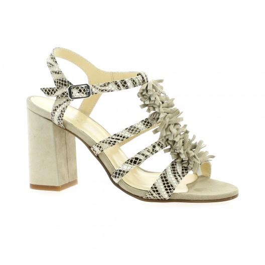 Elizabeth Stuart Nu pieds cuir python  sable Sable - Chaussures Sandale Femme