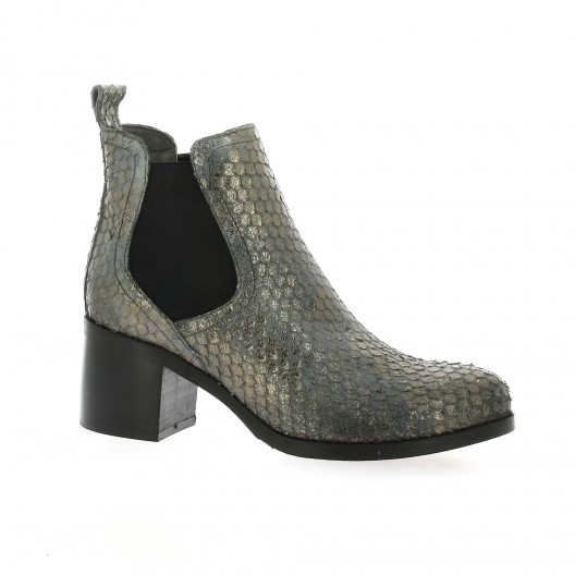 Pao Boots cuir python Doré - Chaussures Boot Femme