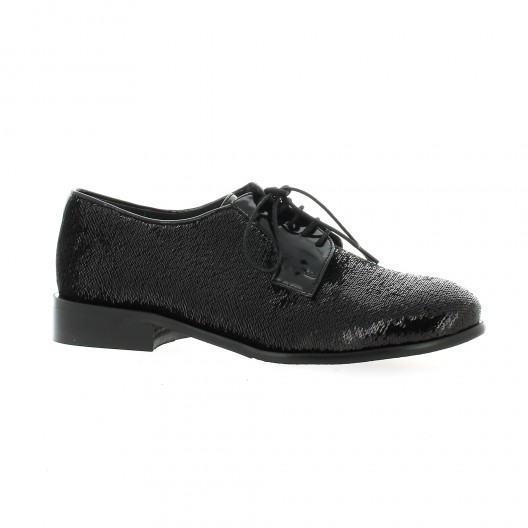 Reqins Derby cuir pailleté noir