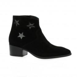 Reqins Boots cuir laminé noir