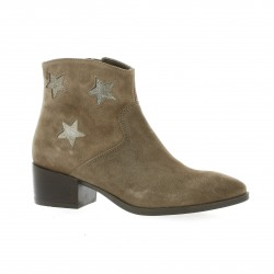 Reqins Boots cuir laminé taupe