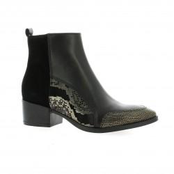 Reqins Boots cuir noir/or