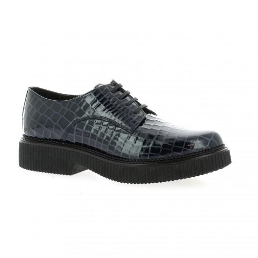 Exit Derby cuir vernis croco Marine - Chaussures Derbies Femme