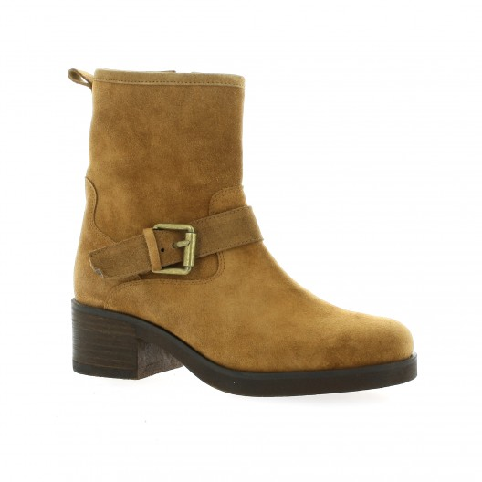 Exit Boots cuir laminé Noir - Chaussures Boot Femme