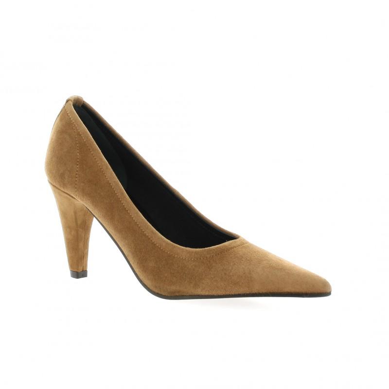 elizabeth stuart escarpins cuir velours cognac chaussures lona 300. Black Bedroom Furniture Sets. Home Design Ideas