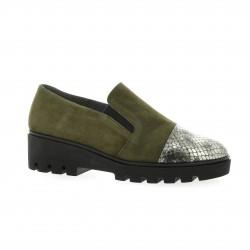 Pao Mocassins cuir velours kaki