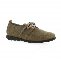 Pao Derby cuir python taupe