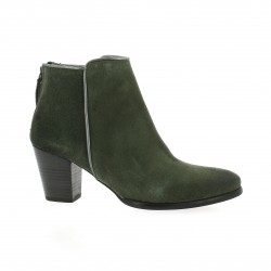 Minka design Boots cuir velours kaki