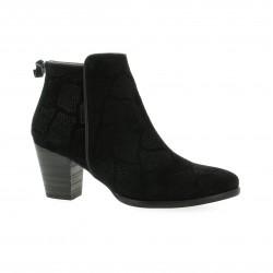 Minka design Boots cuir velours serpent noir