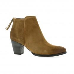 Minka design Boots cuir velours cognac