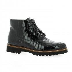 Pao Boots cuir vernis croco noir