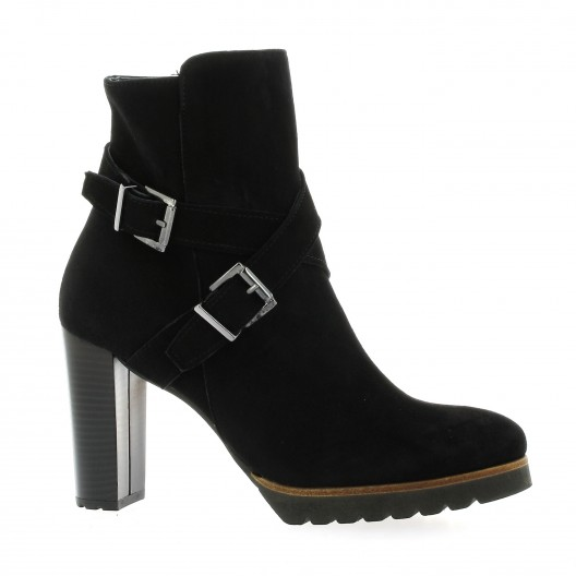 Pao Boots cuir velours noir