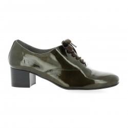 Pao Derby cuir vernis kaki