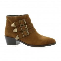 Impact Boots cuir velours cognac