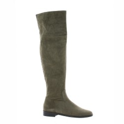 Pao Genouilleres cuir velours taupe