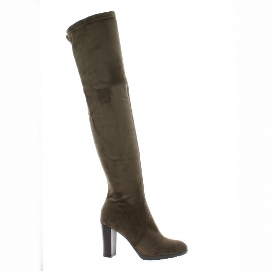Pao Bottes stretch velours Taupe - Chaussures Cuissardes Femme