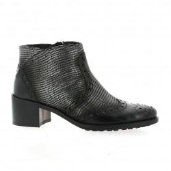 Donna piu Boots cuir laminé noir