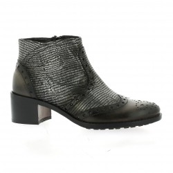 Donna piu Boots cuir laminé gris