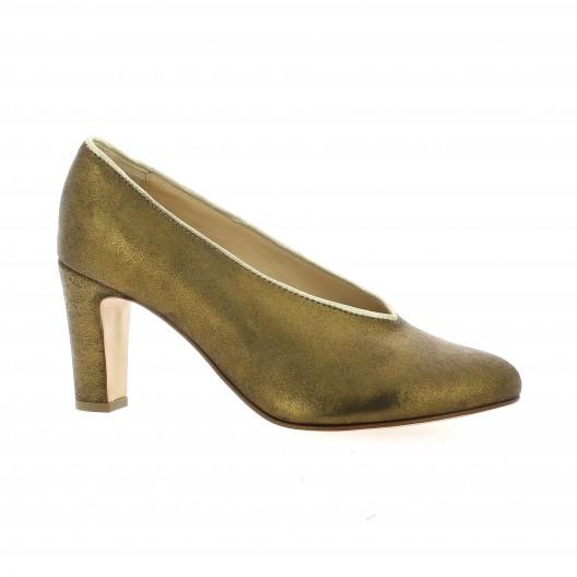 Ambiance Escarpins cuir laminé Bronze - Chaussures Escarpins Femme
