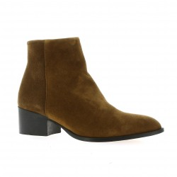 Elizabeth stuart Boots cuir velours cognac