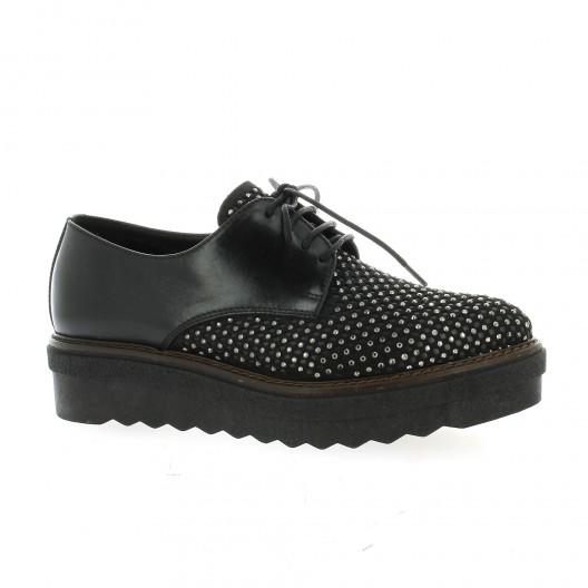 Donna Più Derby cuir Noir - Chaussures Derbies Femme