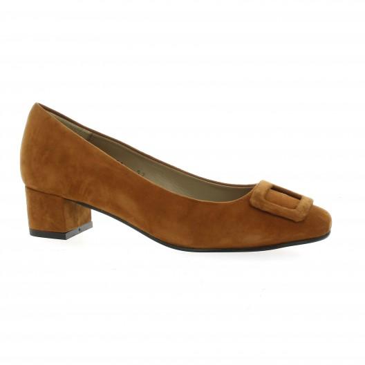 So Send Escarpins cuir velours Cognac - Chaussures Escarpins Femme