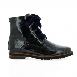 Mitica Boots cuir vernis bleu