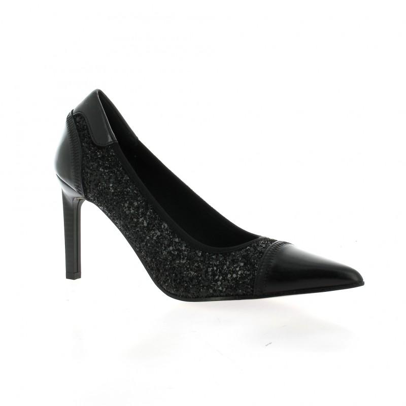 elizabeth stuart chaussure escarpins cuir paillet noir. Black Bedroom Furniture Sets. Home Design Ideas