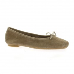 Reqins Ballerines cuir velours taupe