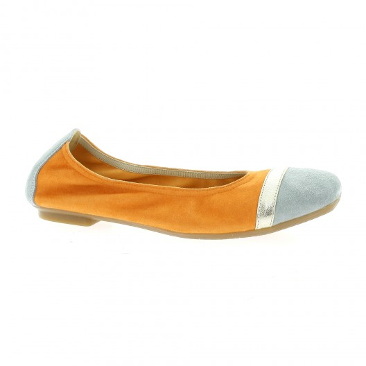 Ballerines Femme Reqins en Cuir velours Orange