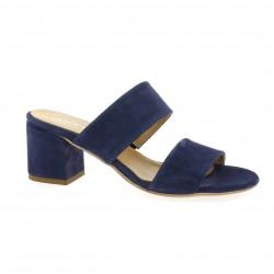 Mitica Mules cuir velours bleu