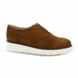 Pao Derby cuir velours camel